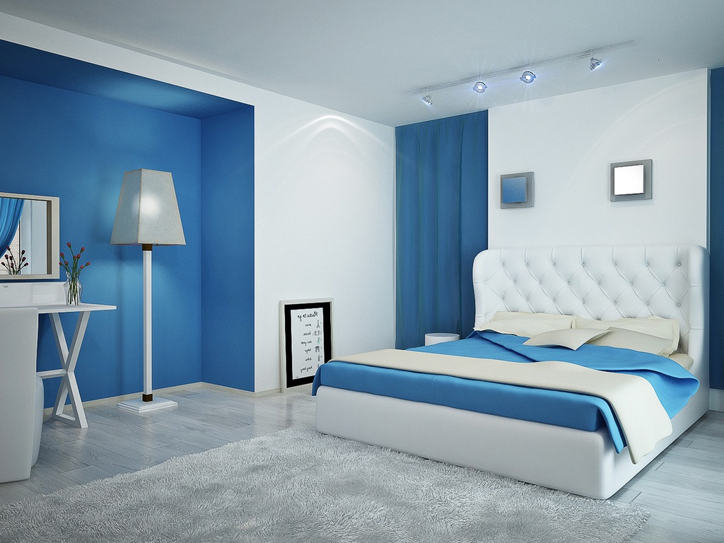 Bedroom designs for couples in blue - Cool And Modern The Blue Bedroom