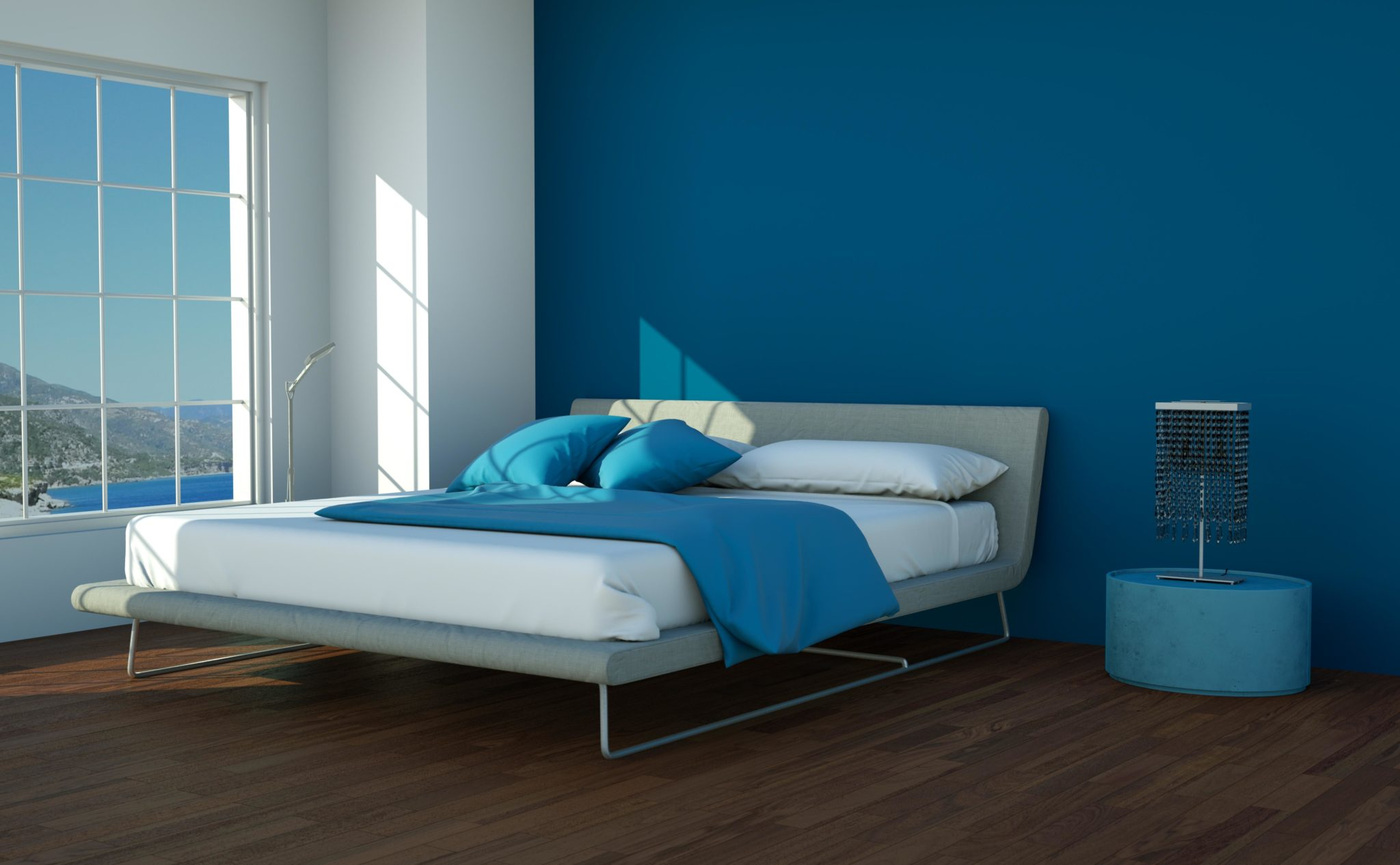 Dark Blue Bedroom Walls White Furniture