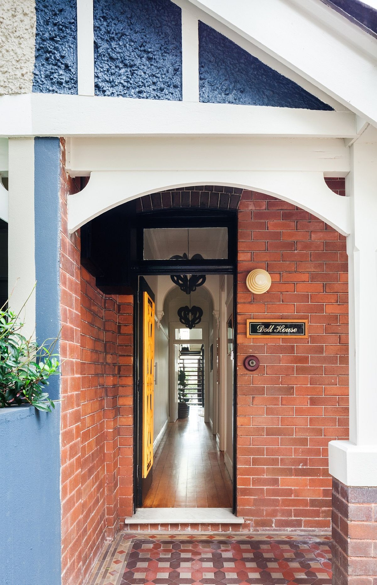 Brick wall entrance of the remodeled home in Sydney