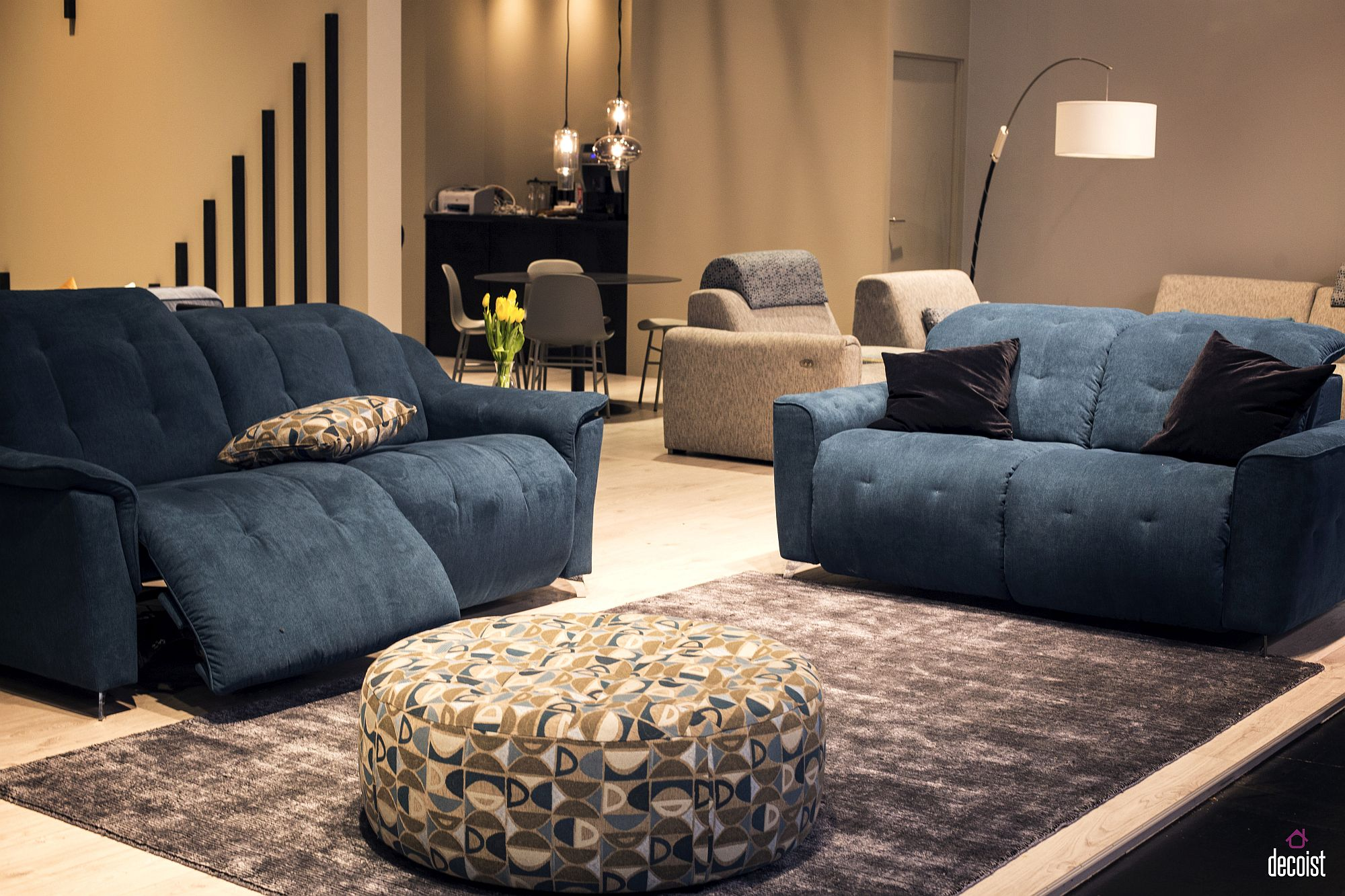 Bright and beautiful sofa in dark blue from Vilmers with modular design