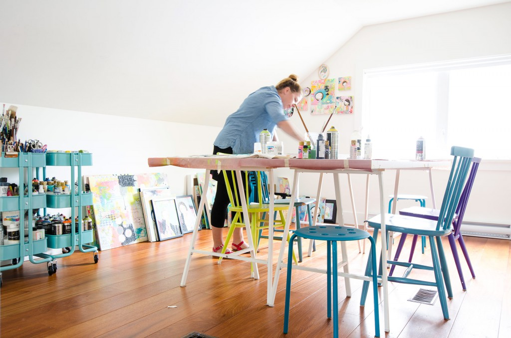 Bright art studio with colorful chairs