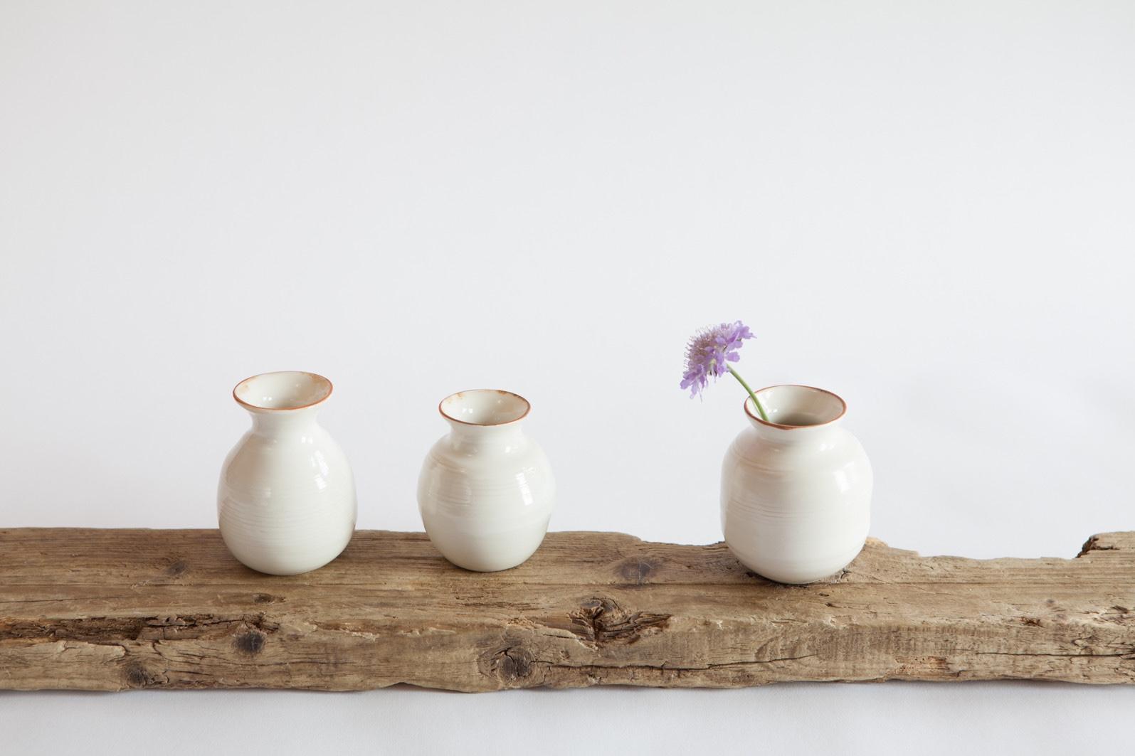 Bronze lustre rim posy vases
