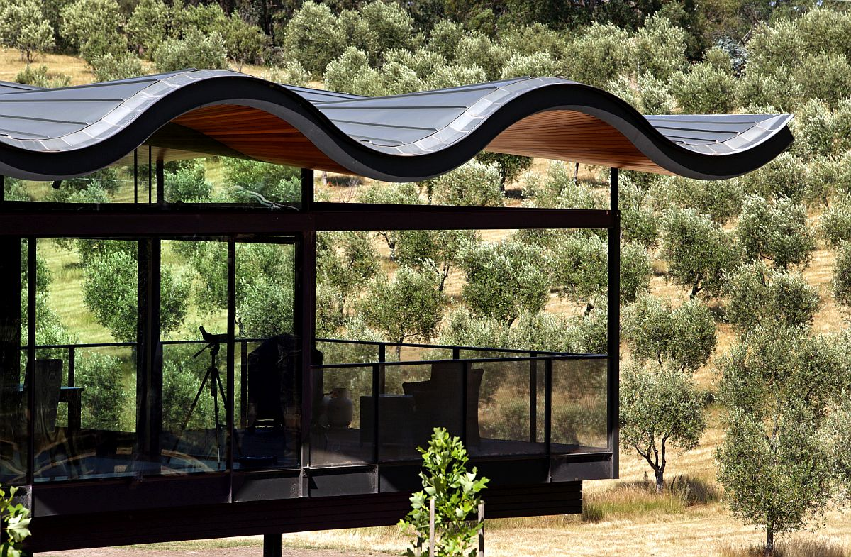 Cantilevered portion of the house with the fabulous roof