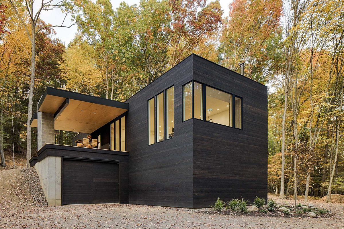 Charred cedar siding gives the exterior of the Tinkerbox a dashing finish