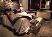 Classic-modern-bedroom-in-scarlet-and-silver-217x155