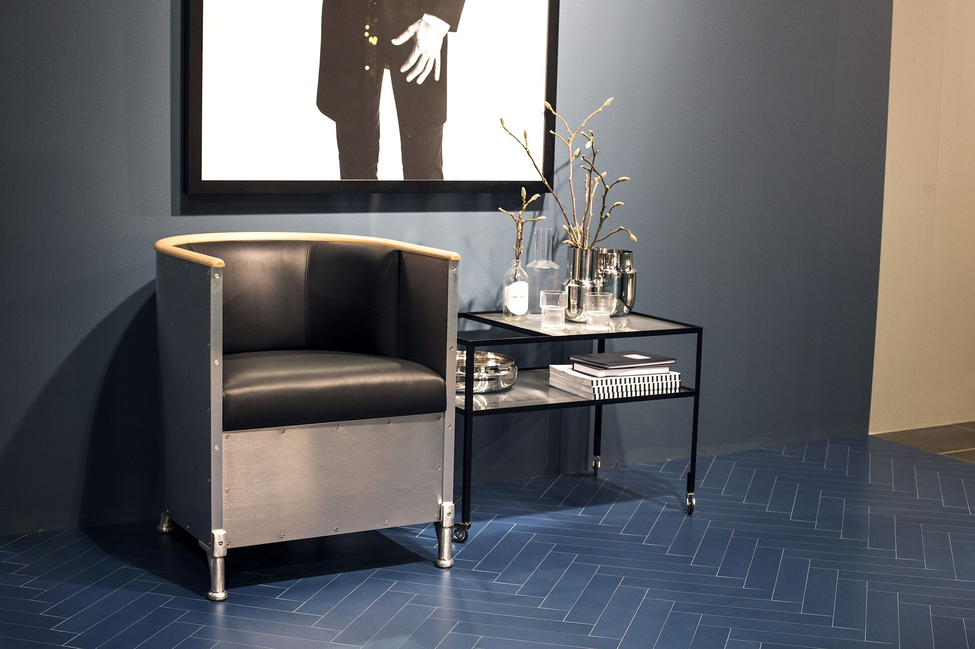 Classy side table on wheels for contemporary interior