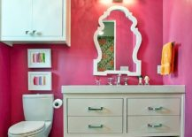 Colorful bathroom with an equally captivating towel display 217x155 Folded and Stacked: 20 Towel Display Ideas for Contemporary Bathrooms