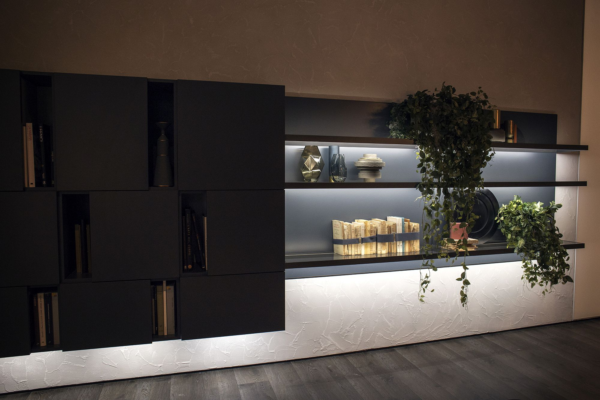 Combine-floating-cabinets-with-open-shelvinga-nd-LED-lighting-for-that-complete-storage-and-display-unit