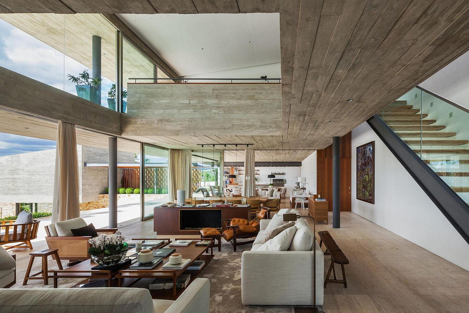 Concrete gives the interior a relaxing modern appeal