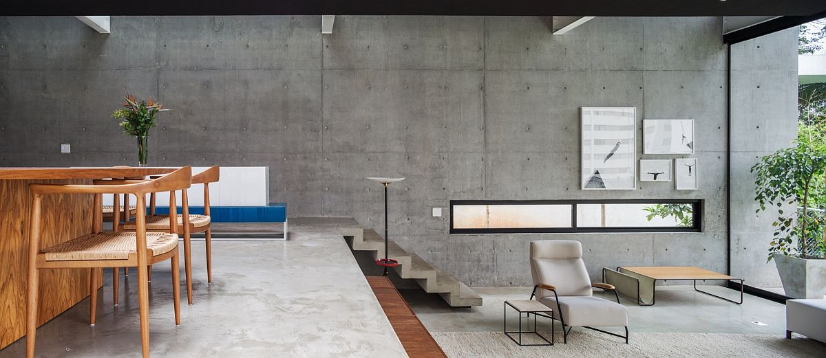 Concrete wall in the backdrop creates a neutral setting with texture