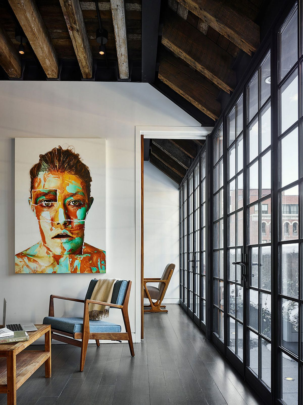 Contemporary design elements combined with industrial past of New Yor penthouse