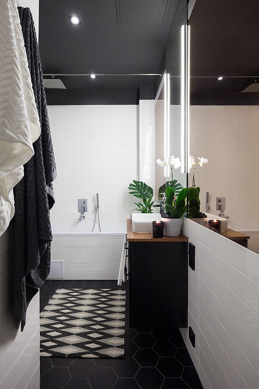 Dark hexagonal tiles for the bathroom floor