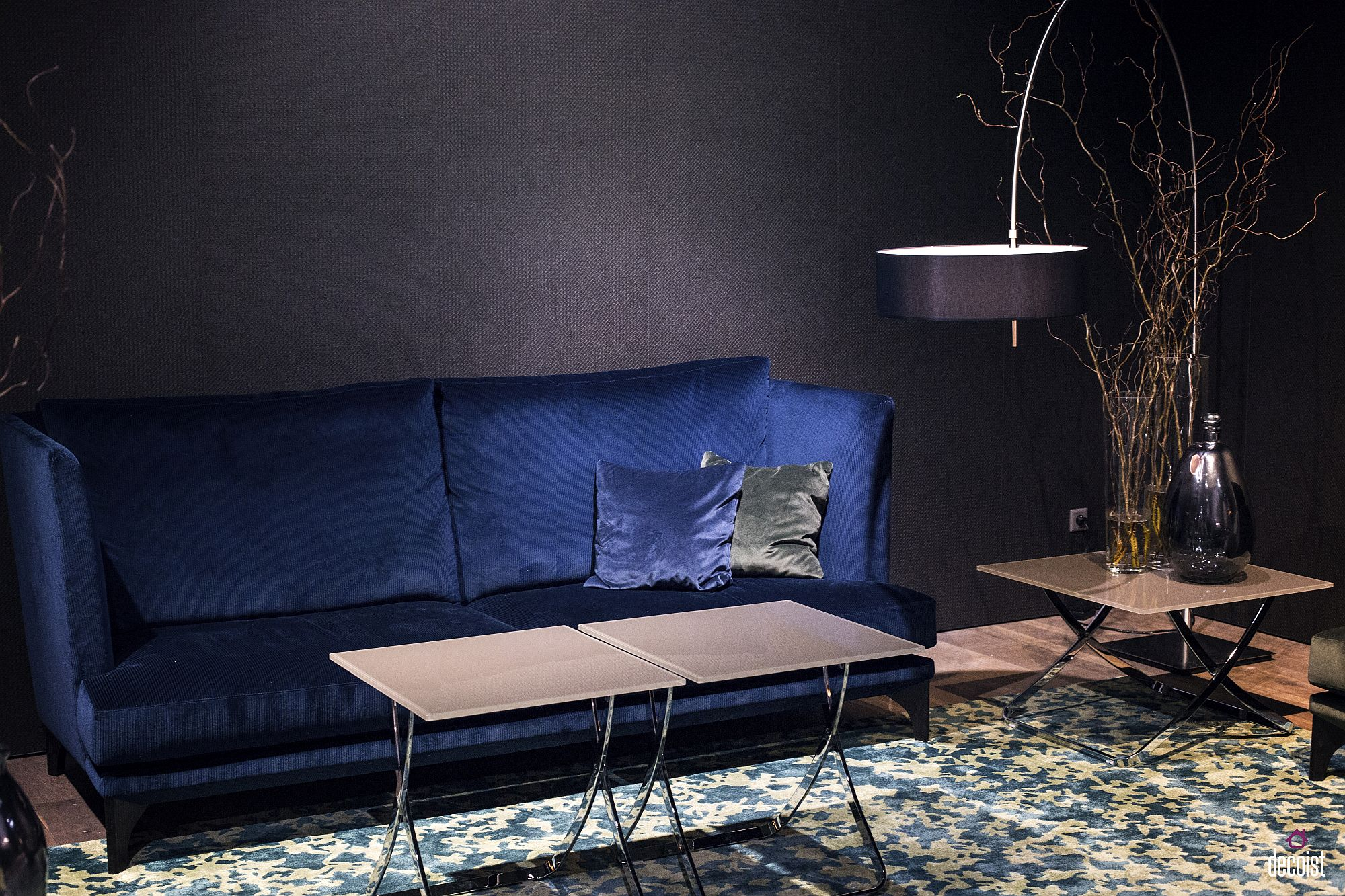 Dazzling peacock blue for the couch is a showstopper
