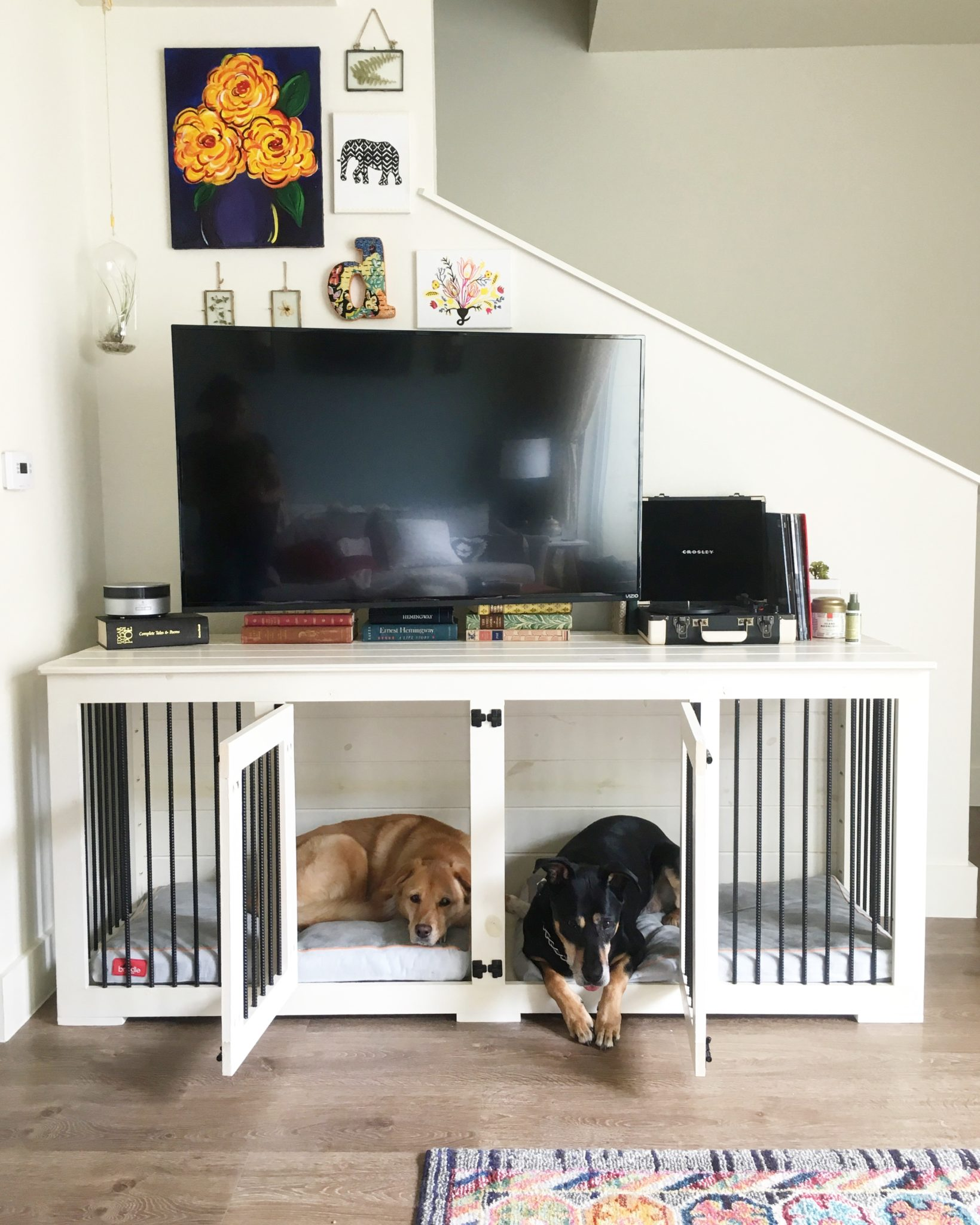 Dog crate used as a TV stand