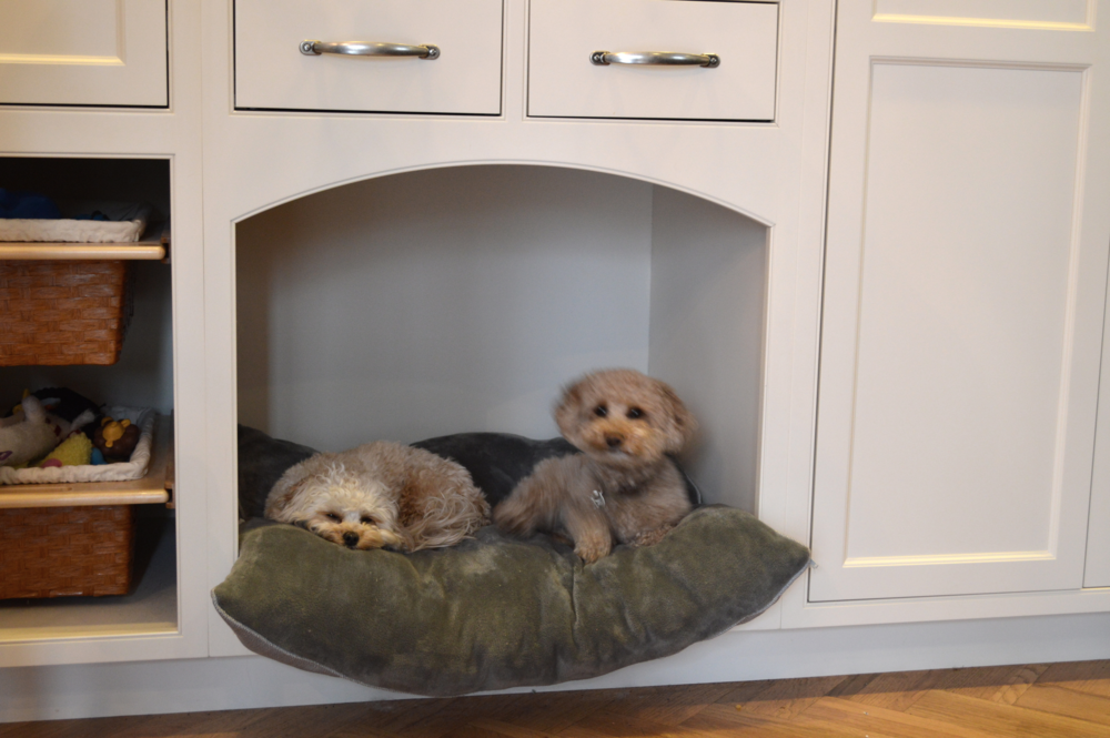 Dog nook in a small cabinet installation