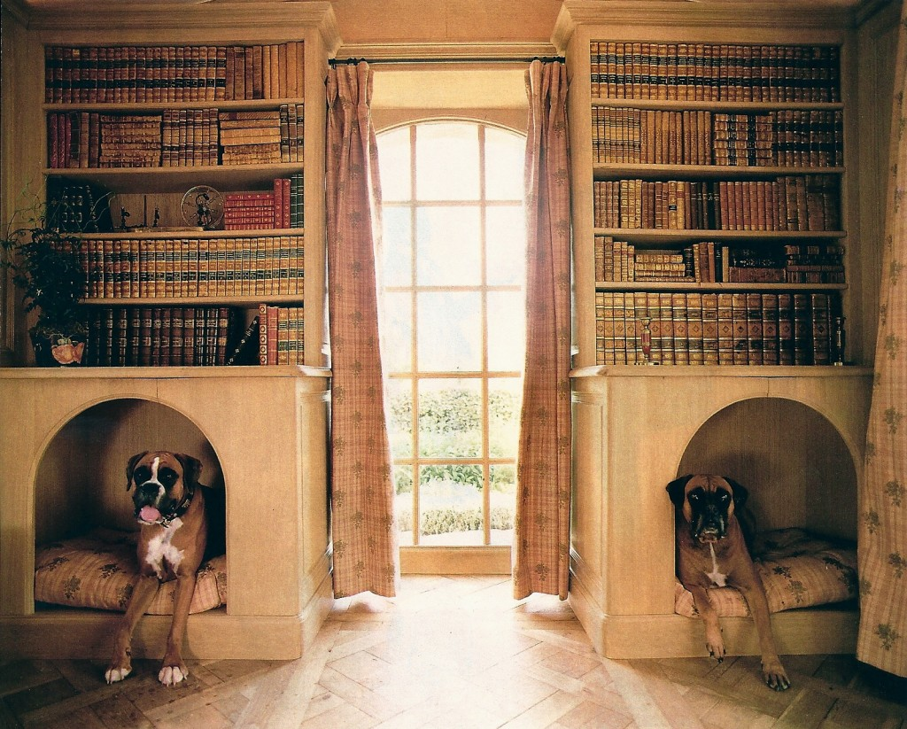 Dog nooks in a home library