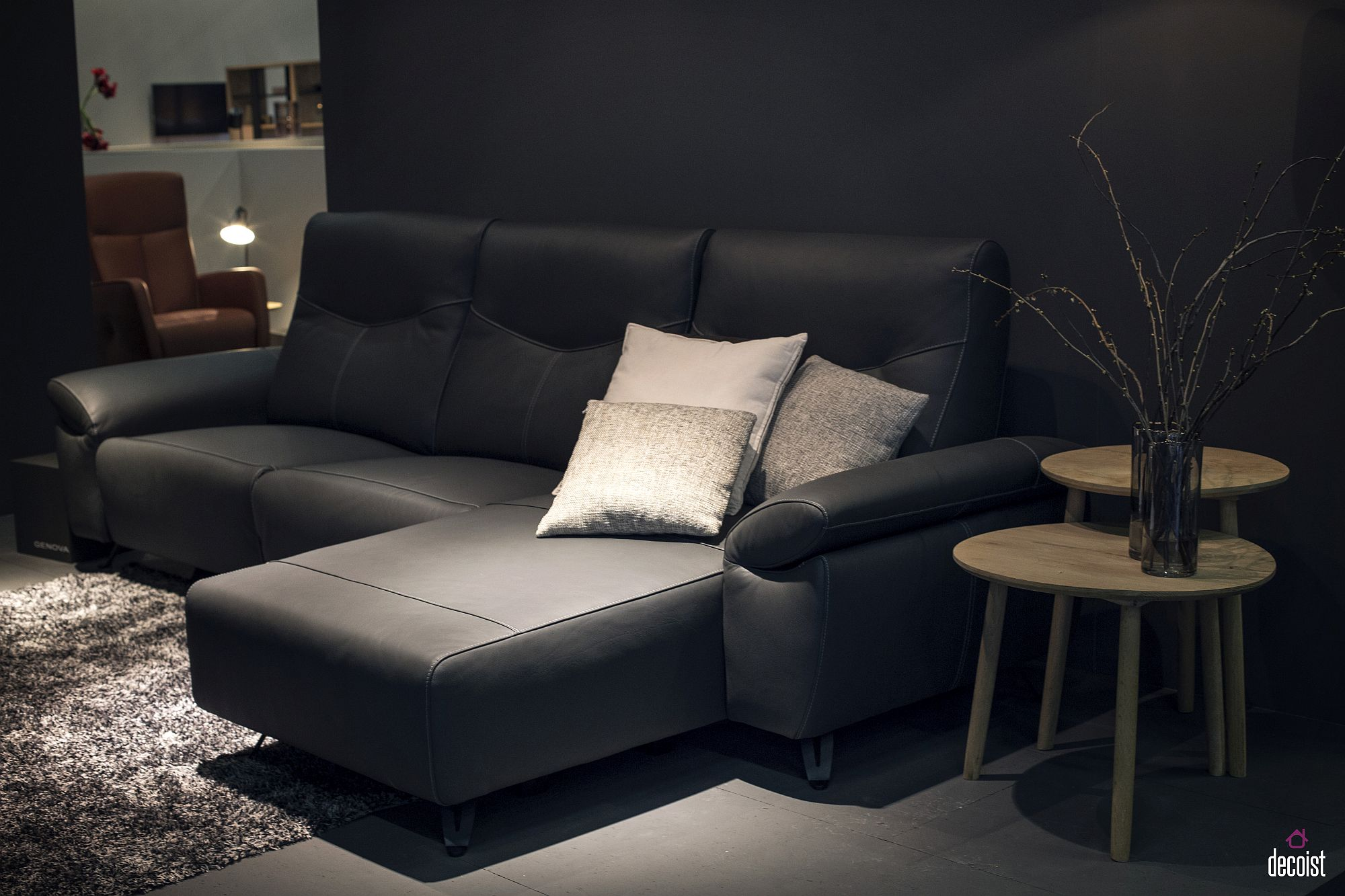 Elegant-sectional-coupled-with-end-tables-in-wood