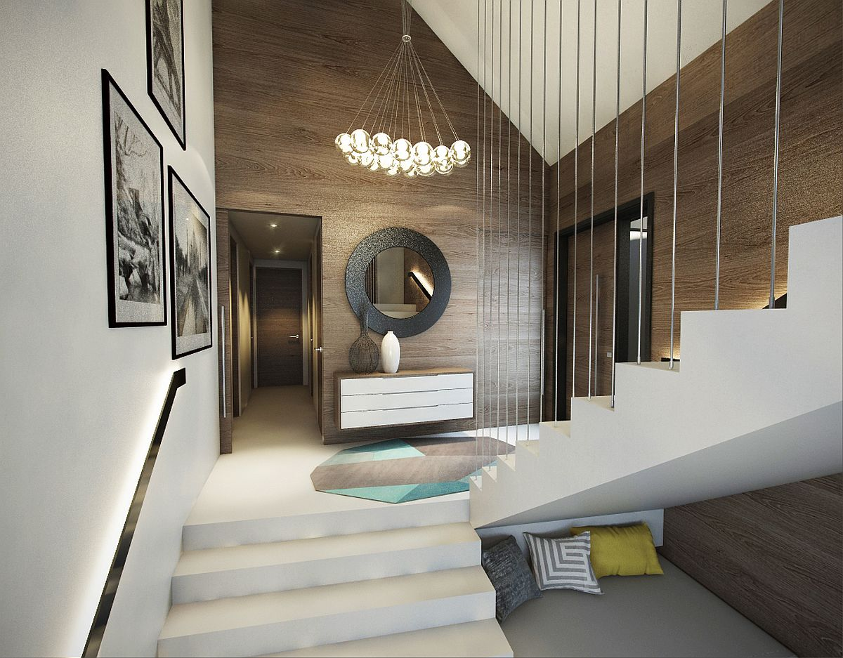 Entrance in black, white and wood