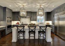 Gray And White Kitchen Designs 30 geous grey and white kitchens that get mix right Custom Cabinets Storage Units And Bespoke Shelves That Accentuate The Gray And White Color Scheme Complete These Fabulous Kitchens