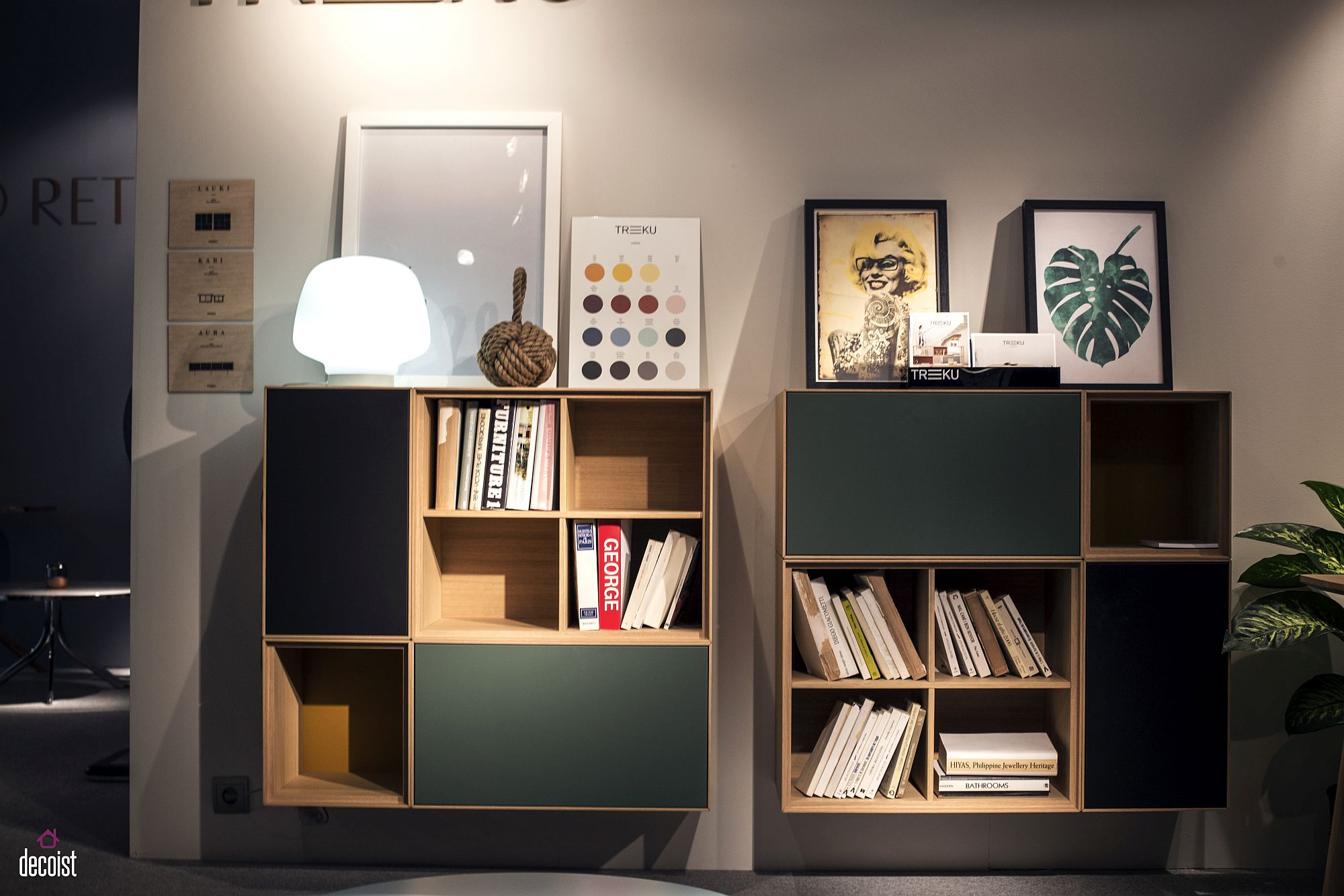 Fabulous home office storage units combine open and closed shelving from Treku