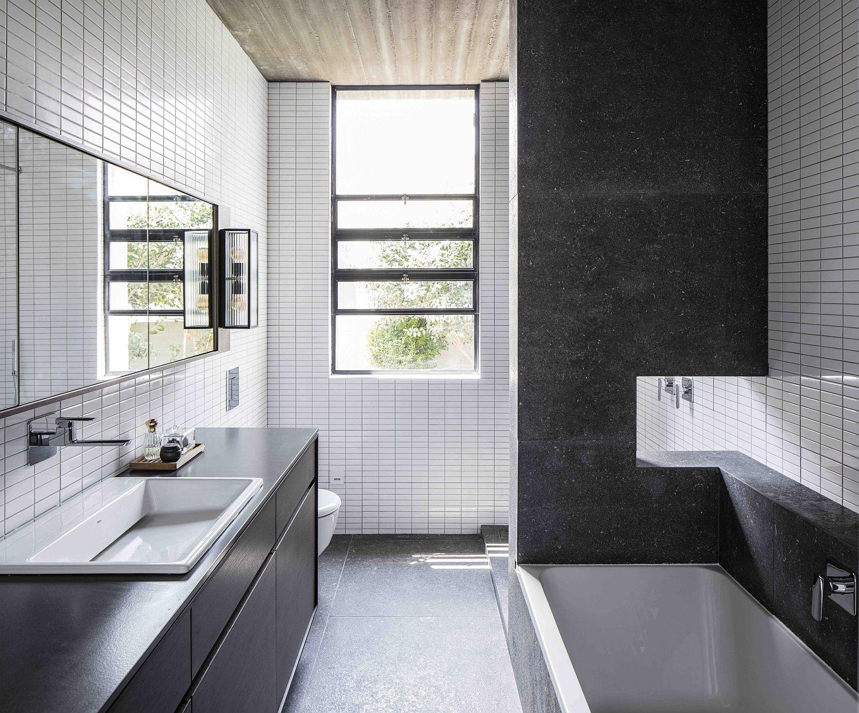 Flood of natural light illuminates the modern bathroom