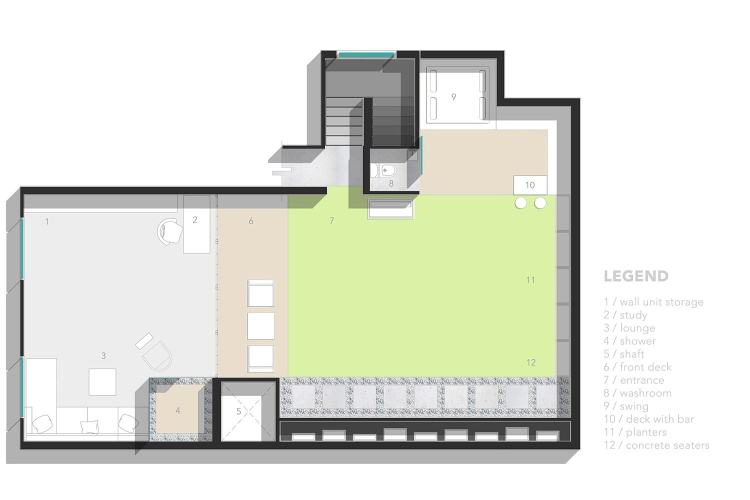 Floor plan of Studio for Two on terrace in Delhi