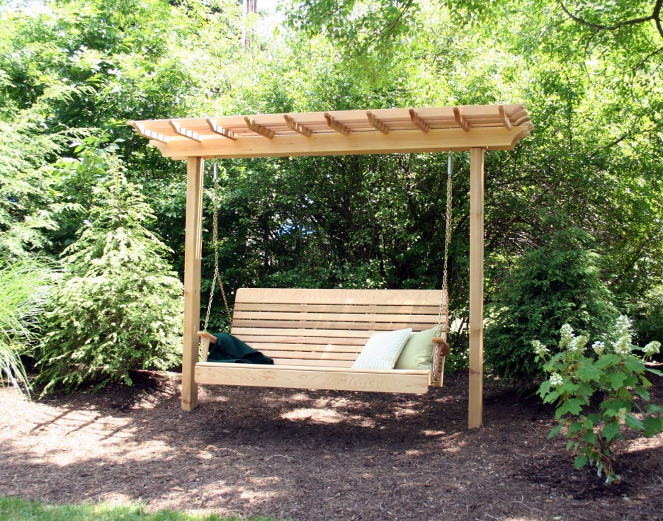Garden swing with a wooden look that steals the show