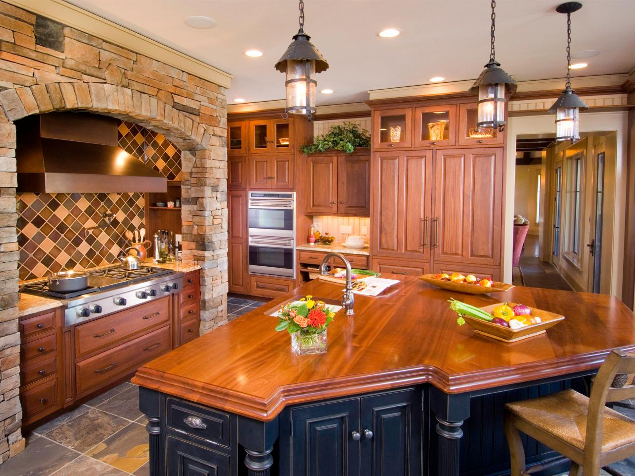 Glamorous and superior kitchen with a polished wooden countertop