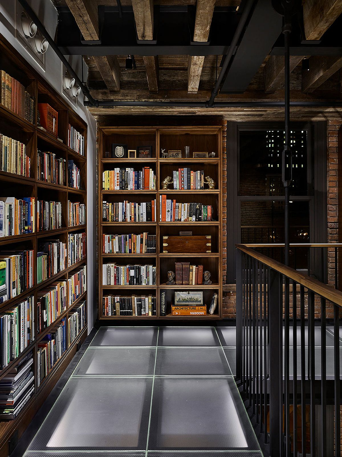 Home library on the gallery level of the penthouse