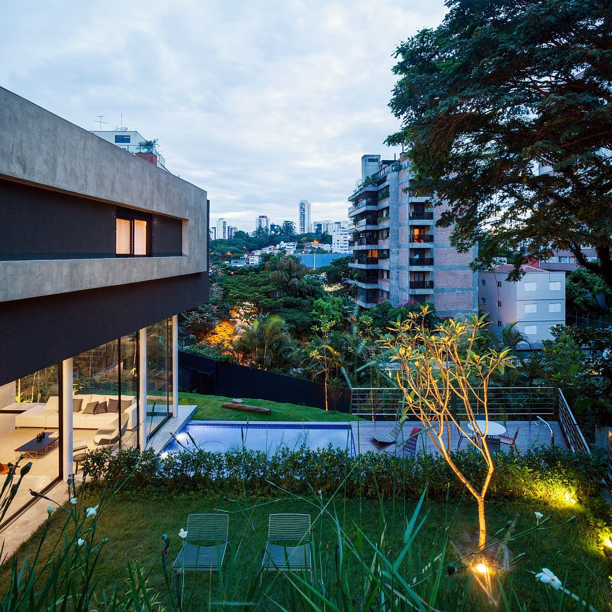 In-ground lighting brings the landscape alive