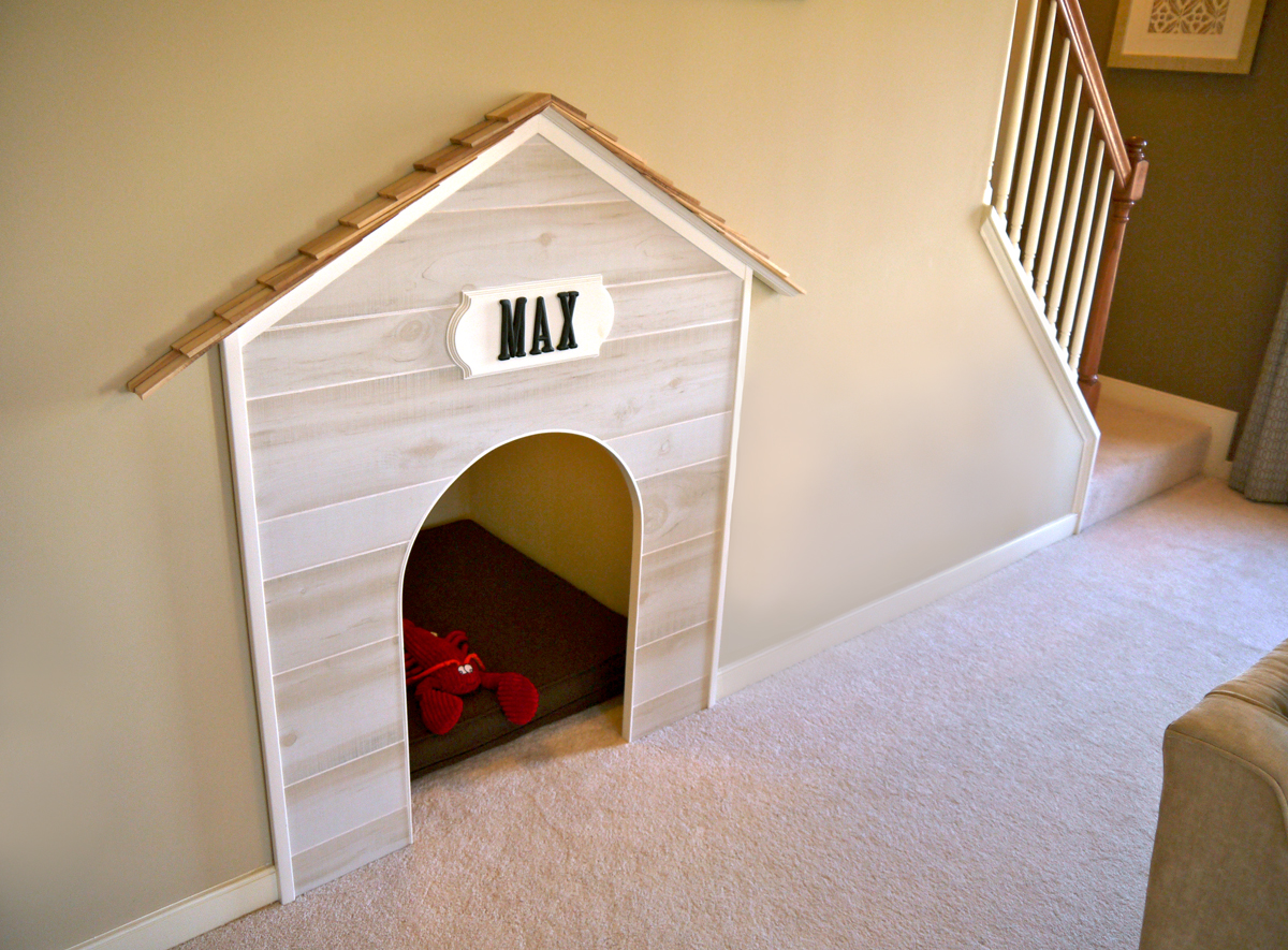 Indoor dog house under the staircase