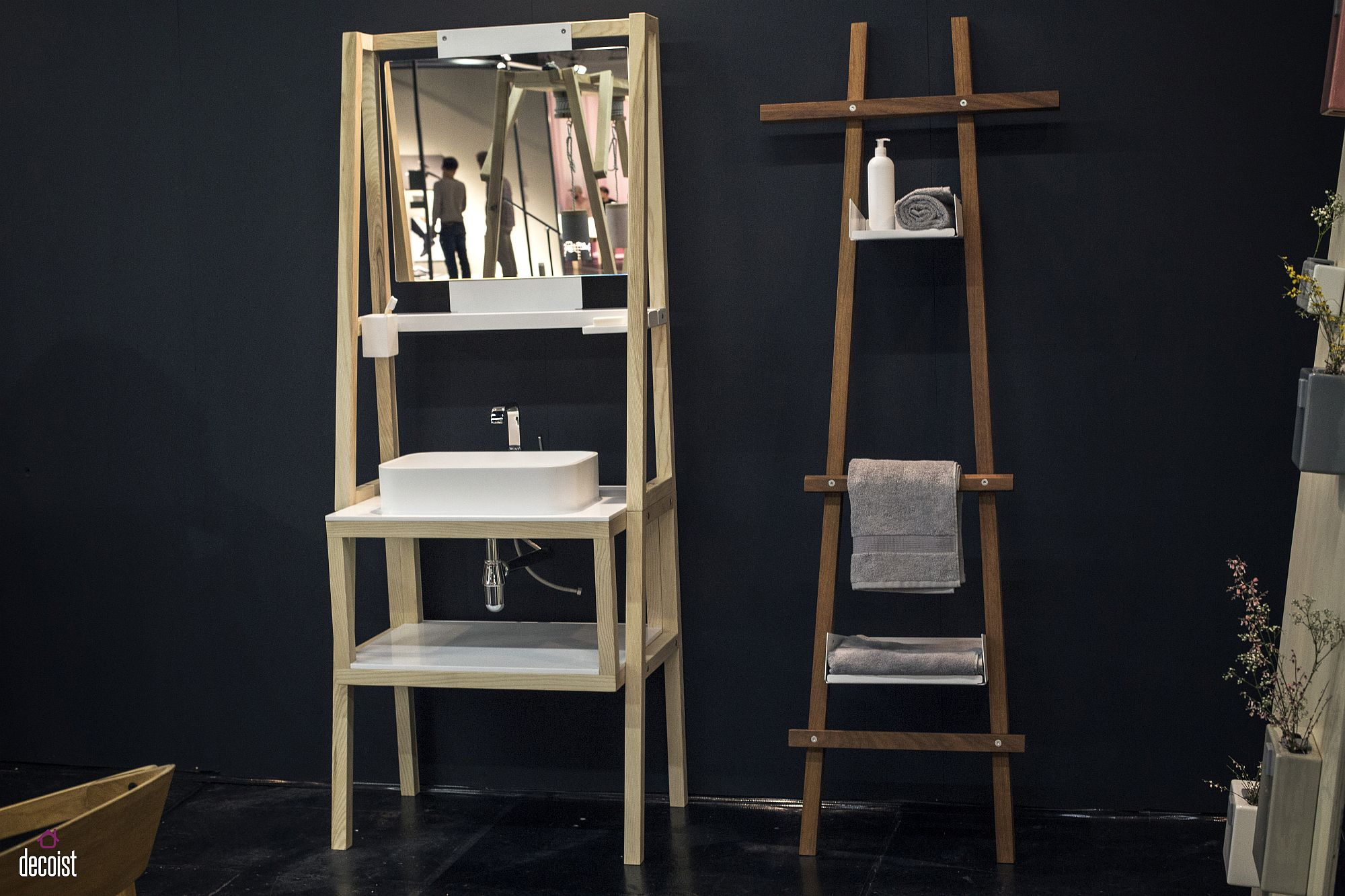 Innovative and space savvy ladder shelf and sink for the small bathroom Folded and Stacked: 20 Towel Display Ideas for Contemporary Bathrooms