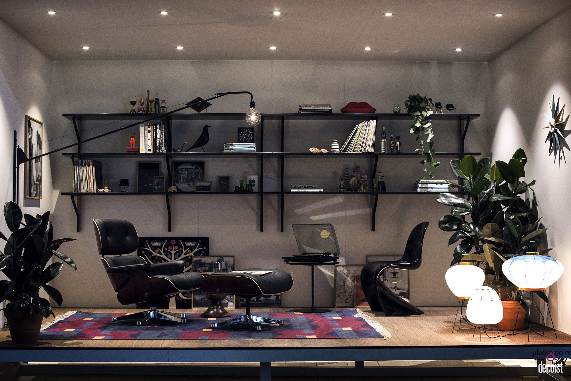 Innovative lighting coupled with Eames Lounger creates a comfy reading nook in the home office