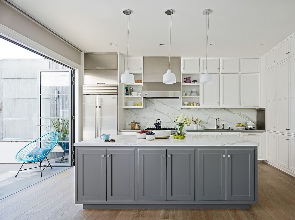 White Kitchen Cabinets With Contrasting Pale Blue Island