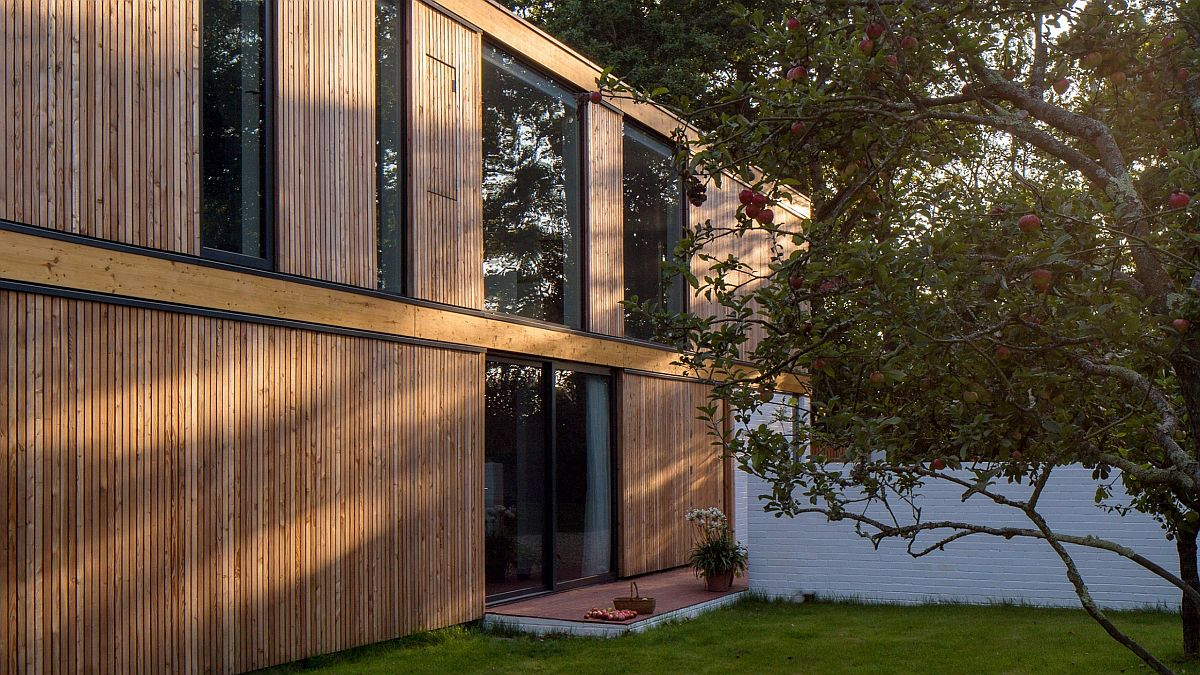 Larch cladding gives the exterior a woodsy appeal