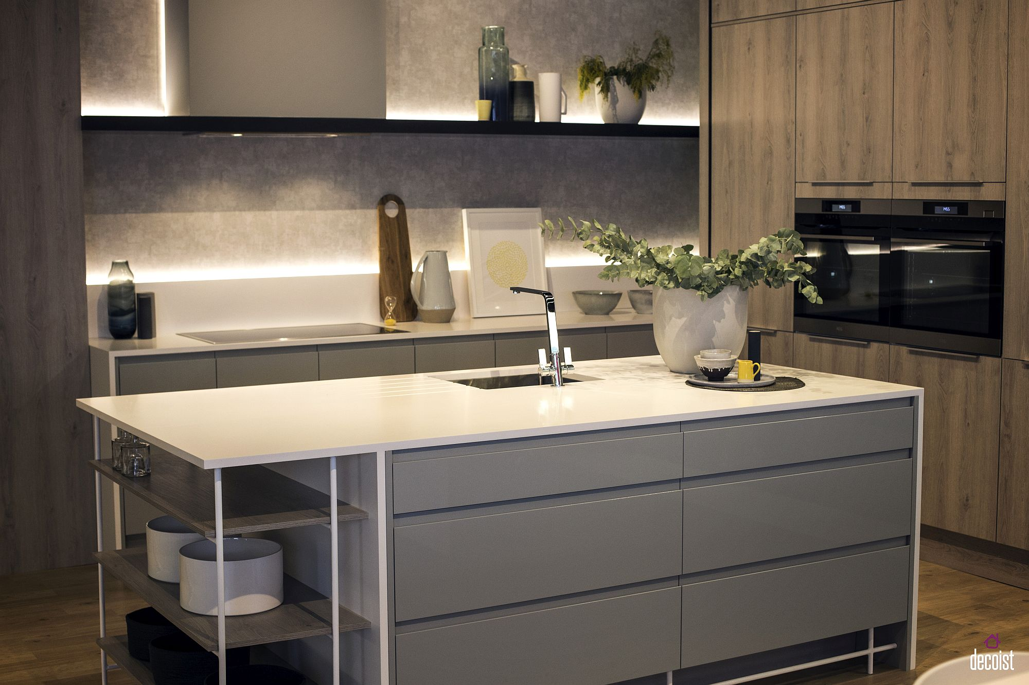 Light gray blends in beautifully with white in the modern kitchen