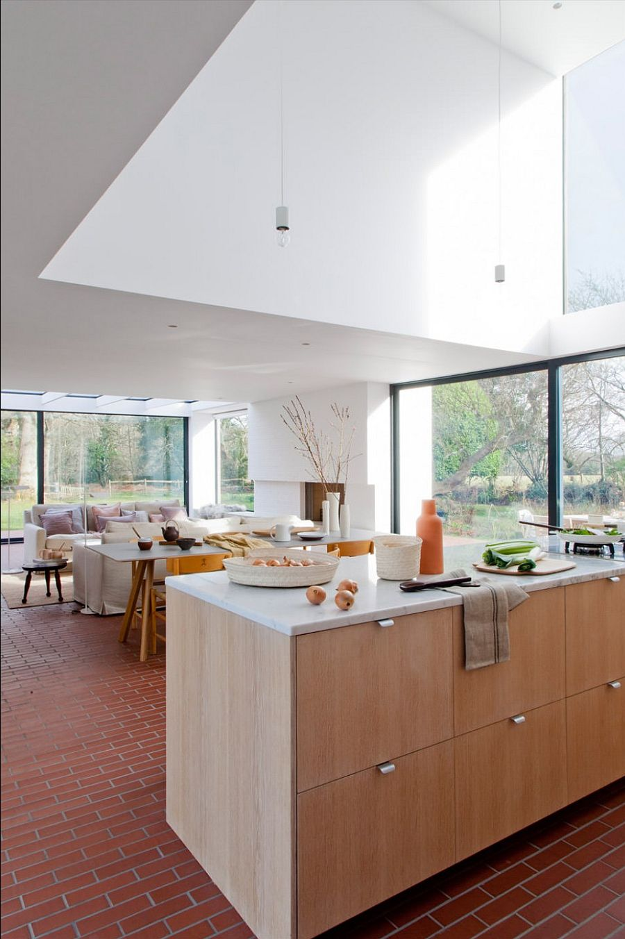 Living area feels a lot more spacious as one approaches the modern kitchen