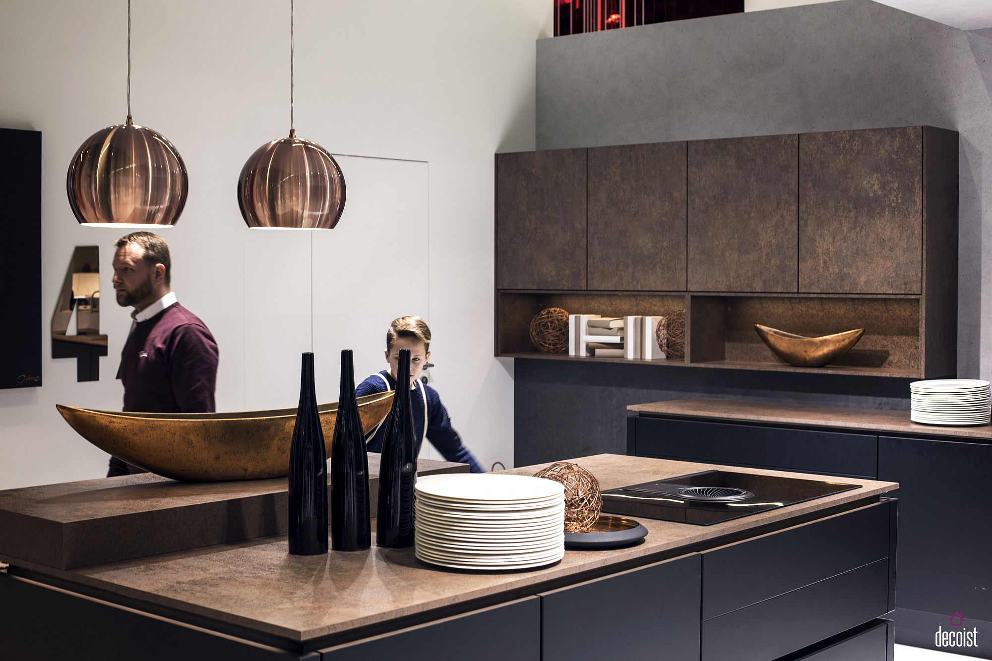 Metallic finishes give the contemporary kitchen textural contrast