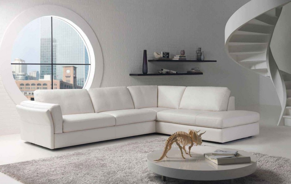 Minimalist living room with a big round window