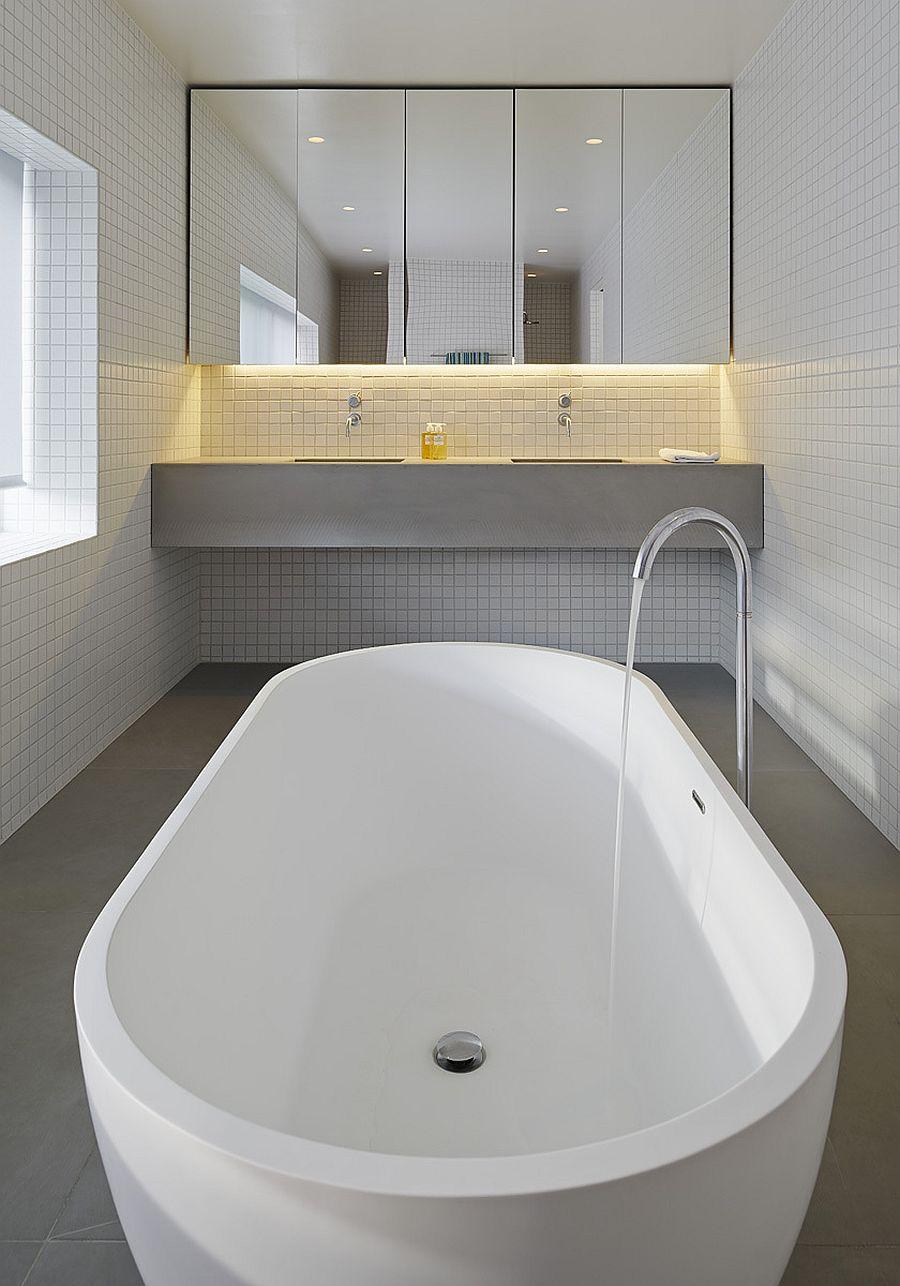 Modern bathroom in white with freestanding bathtub