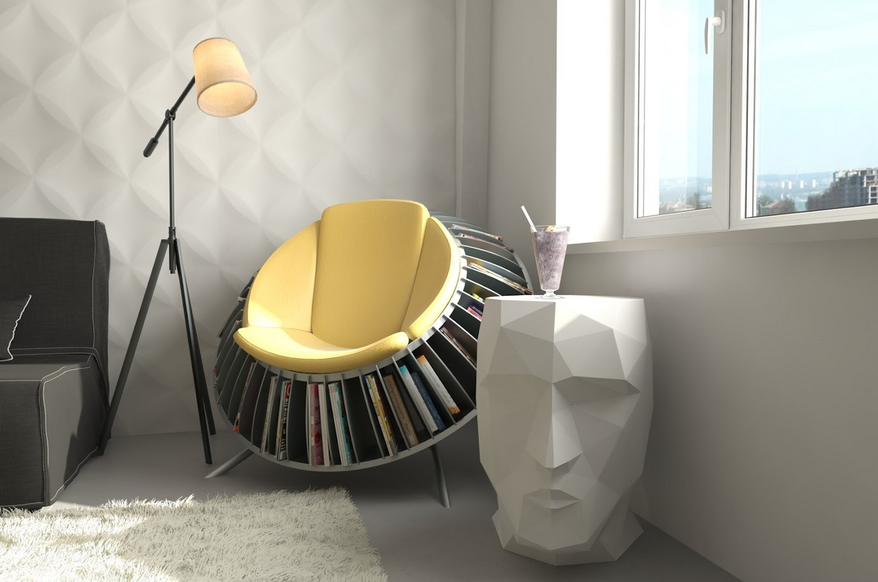 Modern-reading-nook-with-an-innovative-reading-chair-