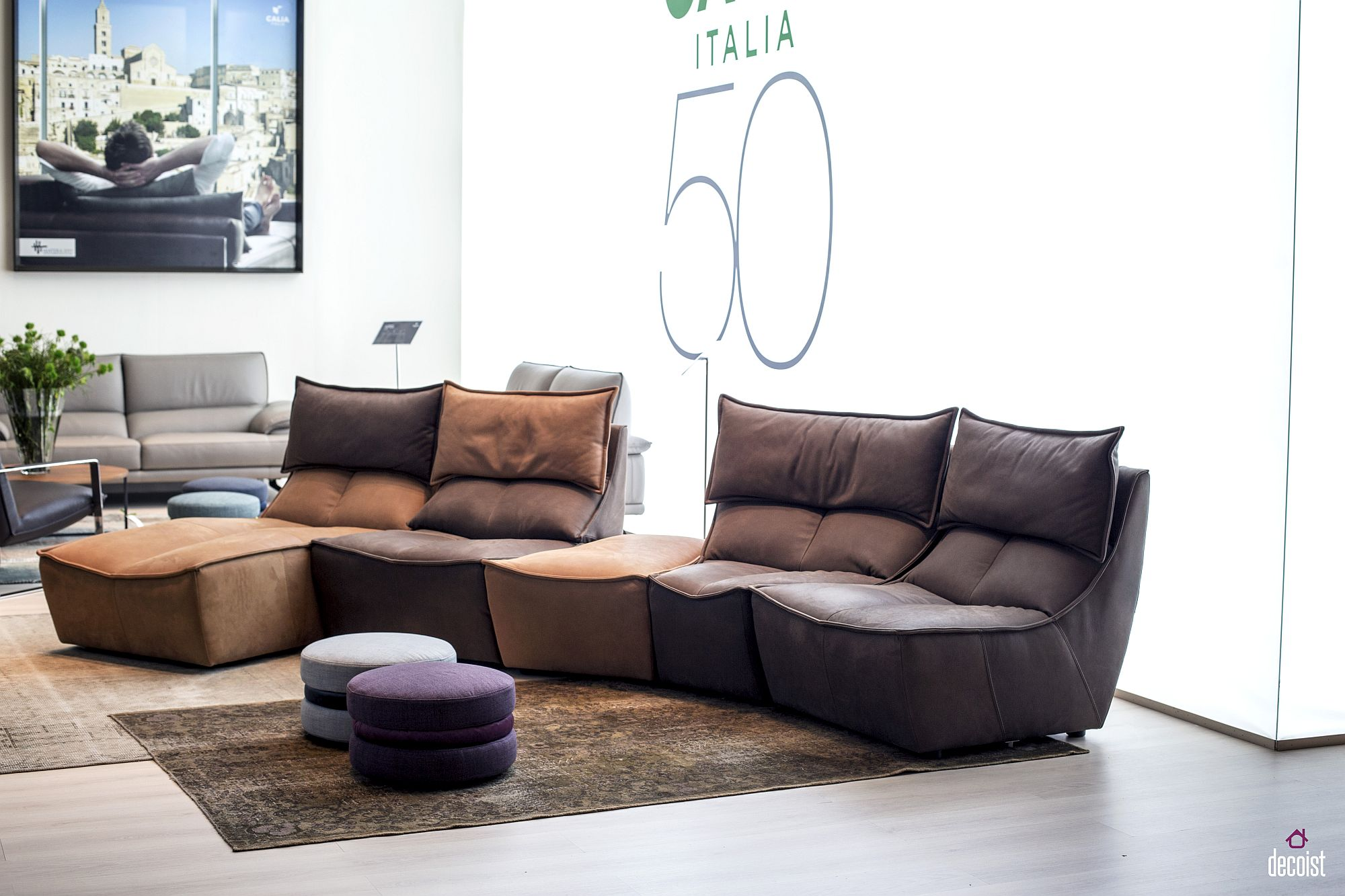 Modular sofa units from Calia Italia add color, contrast and design comfort