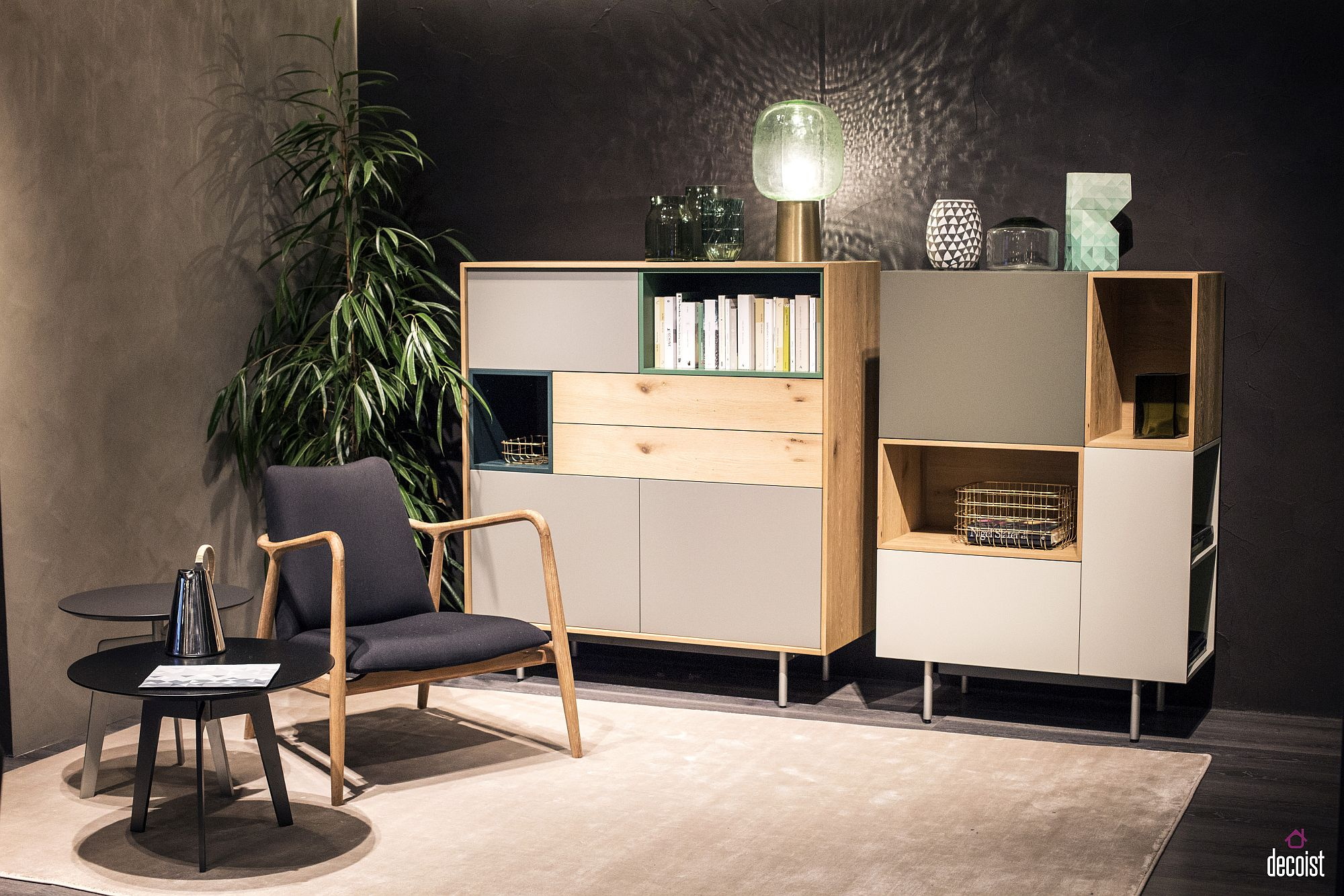 Multiple light sources create a refined reading nook