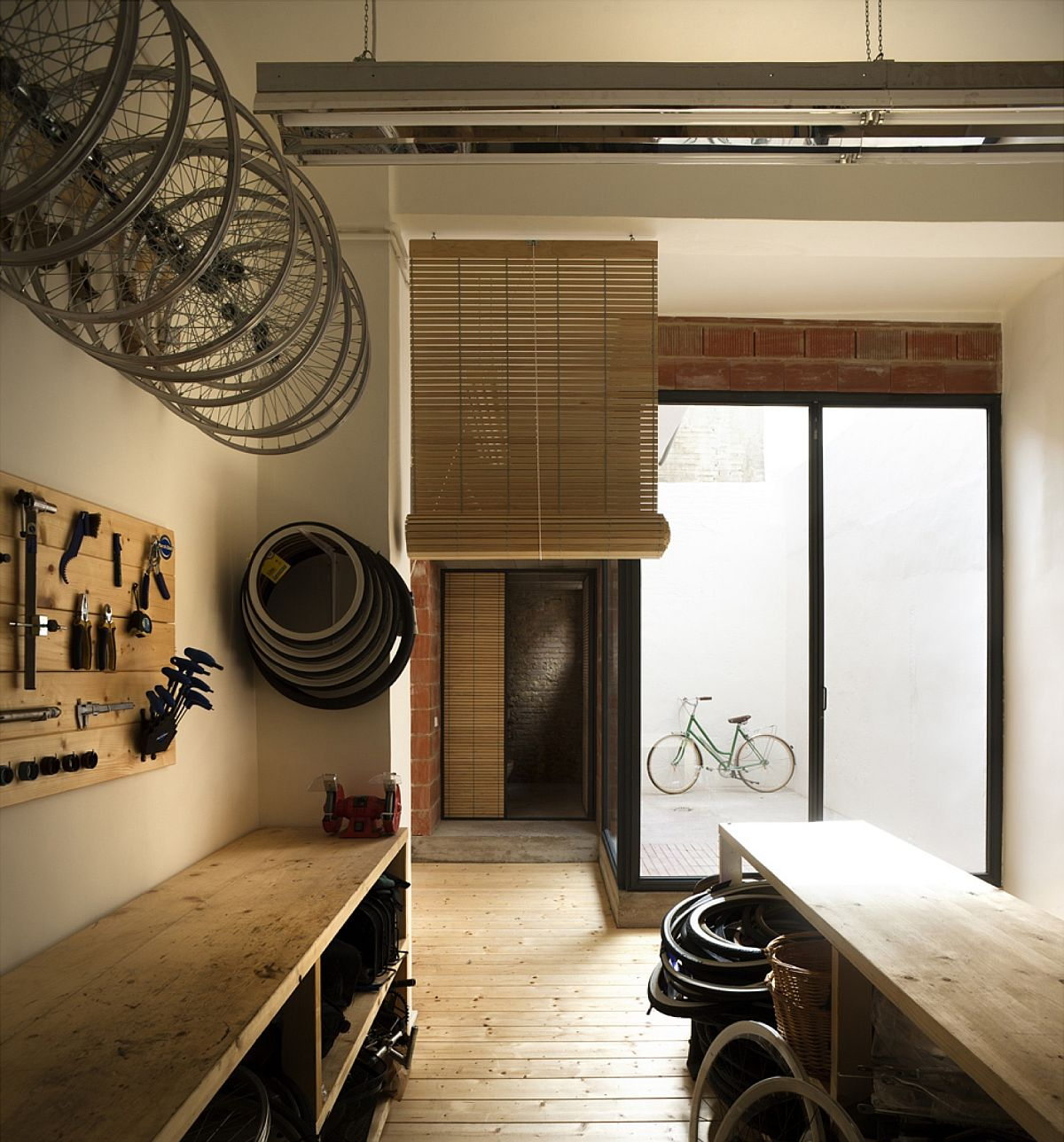 Natural lighting adds to the ambaince of the remodeled cycle shop