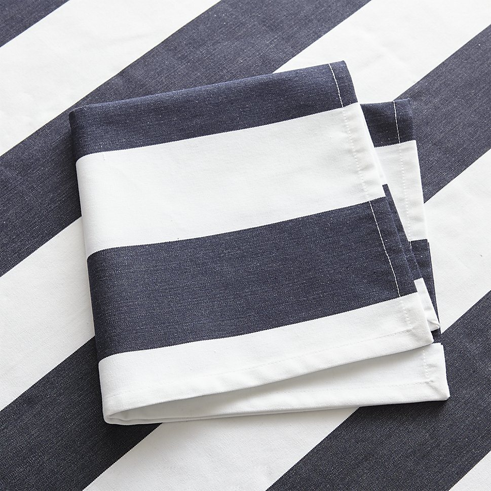 Navy and white napkins from Crate & Barrel