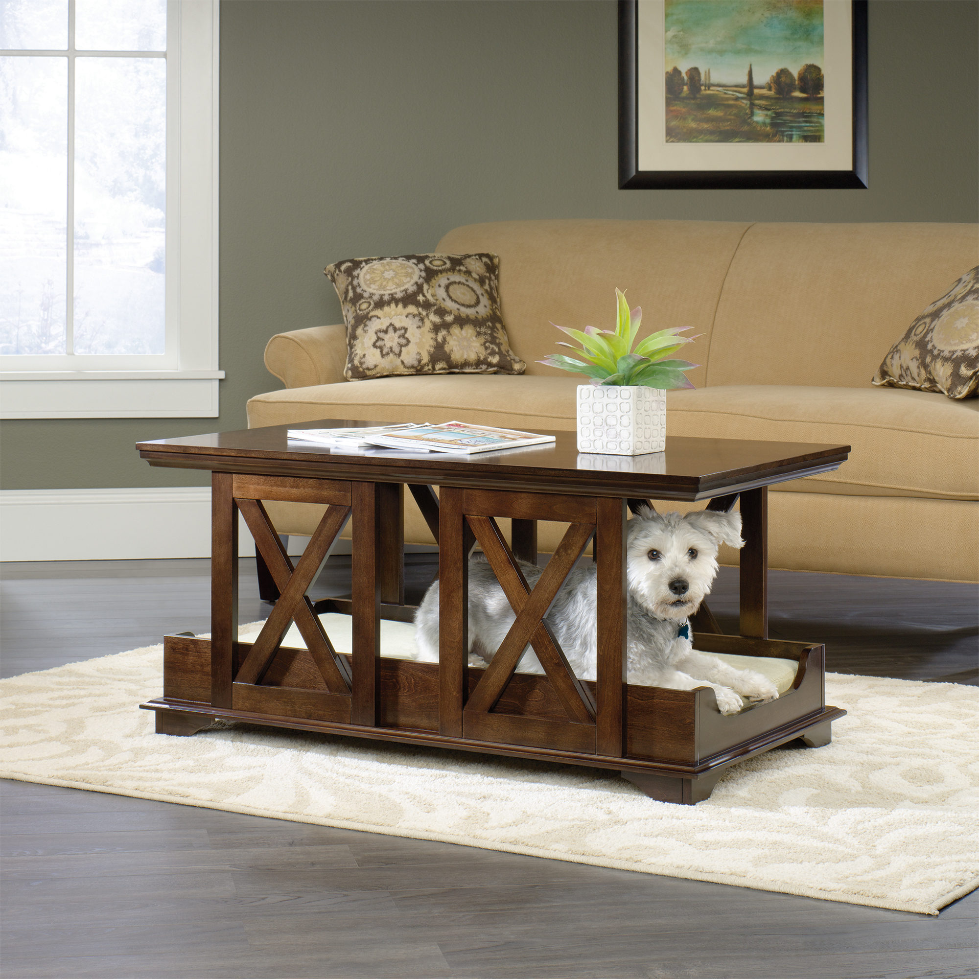 Pet Owners Delight Beautiful Dog Nooks That Add To Your Interior - Wooden dog crate coffee table