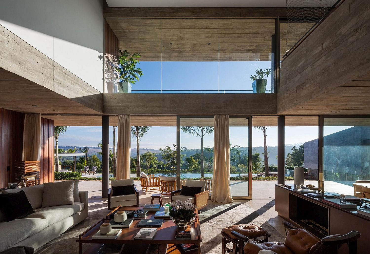 Open double-height living area opens up to the lovely view outside
