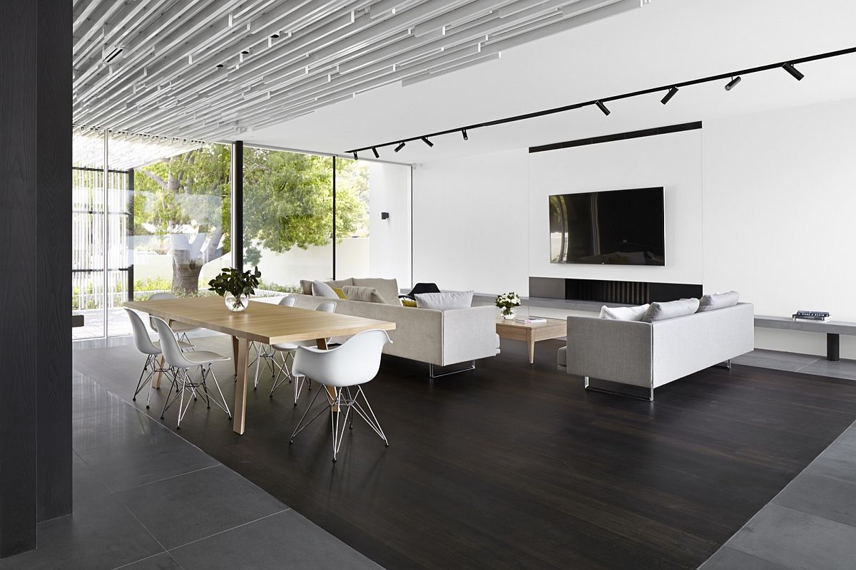 Open living area in white