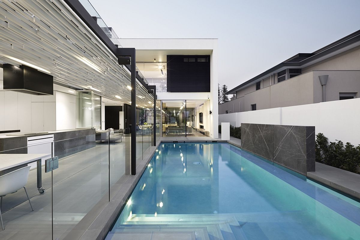 Open pavilion and pool area of the minimal home in Nedlands