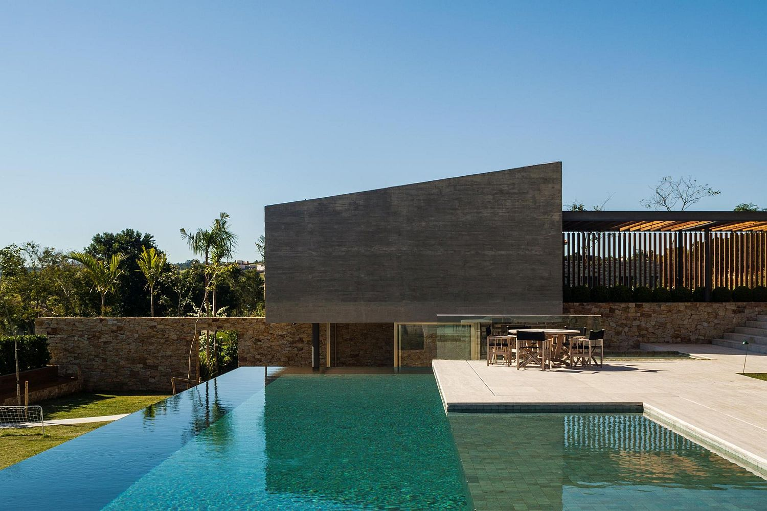 Pool and deck at the lavish home